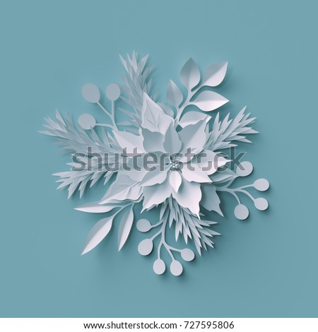 3d render, Christmas background, white paper cut flowers, festive bouquet, holiday decoration, greeting card