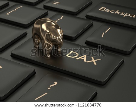 3d render closeup of computer keyboard with DAX index button and bear. Stock market indexes concept.