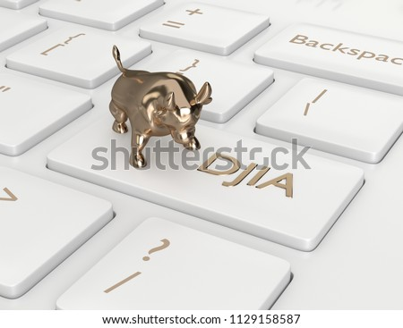 3d render closeup of computer keyboard with DJIA index button and bull. Stock market indexes concept.