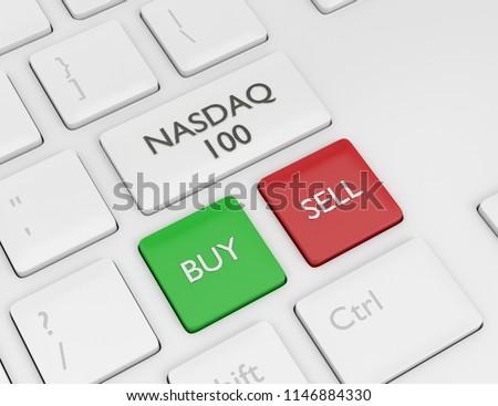 3d render closeup of computer keyboard with NASDAQ 100 index button. Stock market indexes concept.