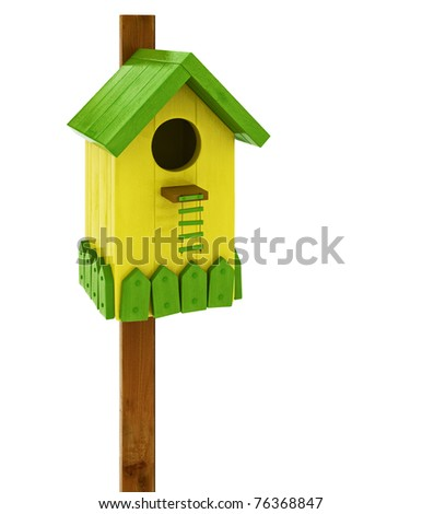 3d render colored birdhouse isolated over white