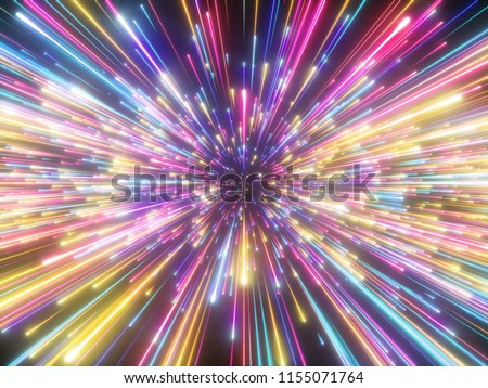 3d render, colorful fireworks, big bang, galaxy, abstract cosmic background, celestial, beauty of universe, speed of light, neon glow, stars, cosmos, ultraviolet infrared vibrant light, outer space