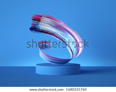 3d render colorful spiral gouache brush stroke object behind the empty podium isolated on blue background, acrylic paint smear clip art, blank showcase, vacant pedestal, copy space for product display