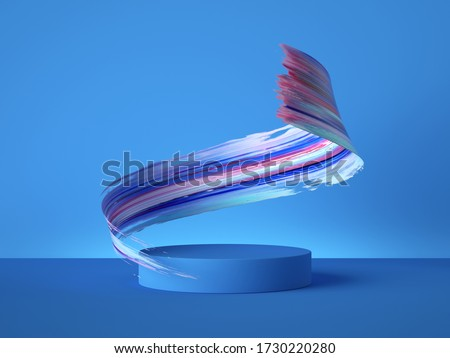 3d render, colorful spiral gouache smear object behind the empty podium isolated on blue background, acrylic paint clip art, brush stroke showcase, vacant pedestal, copy space for product display