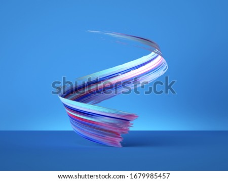 3d render, colorful spiral gouache smear object isolated on blue background, acrylic paint clip art, brush stroke stripe, curvy ribbon, modern minimal creative design