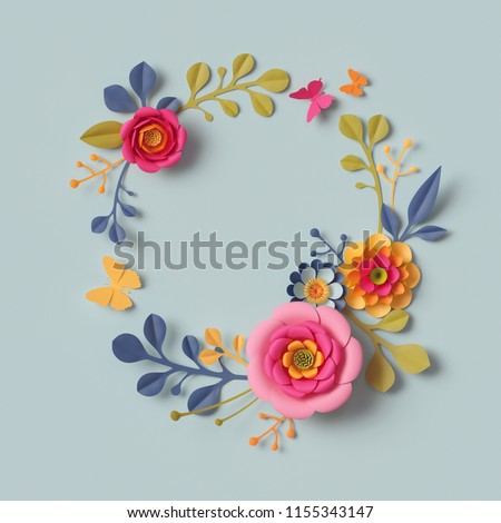 3d render, craft paper flowers, autumn round wreath, festive floral bouquet, botanical arrangement, bright candy colors, nature clip art isolated on sky blue background, decorative embellishment