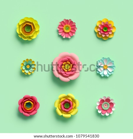 3d render, craft paper flowers, floral clip art set, botanical design elements, bright candy color, isolated on mint green background, decorative embellishment