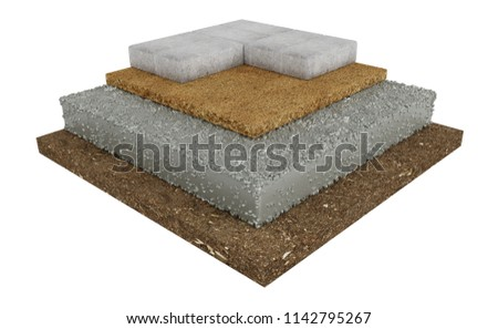 3D render, cross section of lock paving, ground, concrete, sand. Isolated on white background.