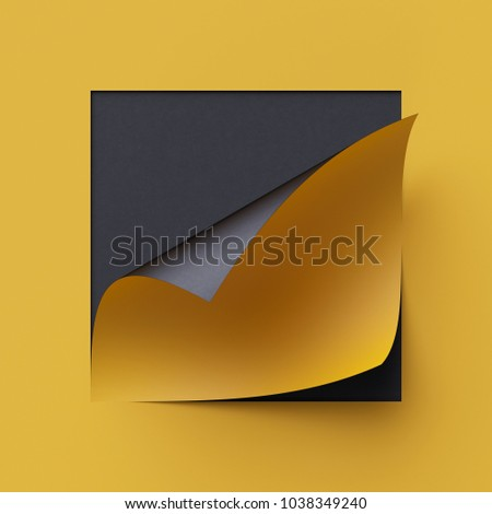 3d render curled corners of note paper. Sheet of paper with page curl and shadow, design element for advertising and promotional message. Yellow and black creative background, modern mock up.