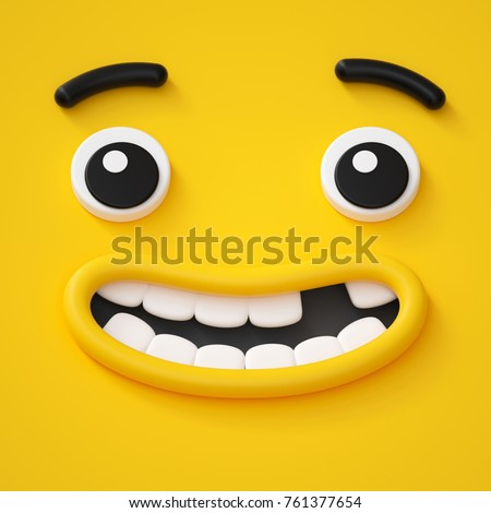 3d render, cute childish face, toothless smile, amazed emotion, emoji, emoticon, funny monster Stock photo ©
