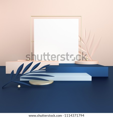 3D render dark blue and beige platforms with tropical leaves in trendy, modern style. Minimal geometric background. Square mock up banner for social media. Geometric shapes in abstract composition.