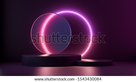 3d render dark purple and pink platform with neon shining and transparent glass rings. Geometric shapes composition with empty space for product design show. Minimal banner mockup.
