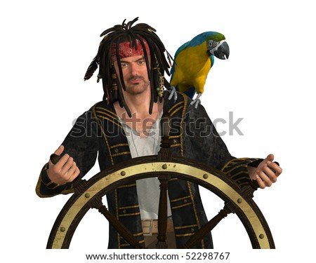 3D render depicting a pirate at the wheel of his ship.
