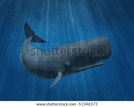 3D render depicting a sperm whale undersea.
