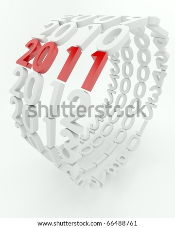 3D render depicting new year 2011transition