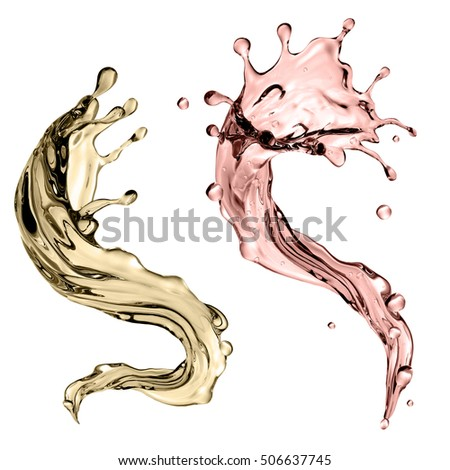 3d render, digital illustration, abstract champagne wave, dynamic shape, liquid splashing set, design elements isolated on white background