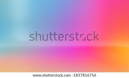 3d render, digital illustration, abstract colorful background, vibrant gradient texture, empty room, pastel neon colors wallpaper Foto d'archivio ©