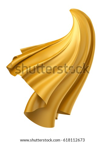 3d render, digital illustration, abstract dynamic cloth, flying, falling, dynamic fabric, unveil drapery, yellow silky curtain, textile cover, isolated on white background