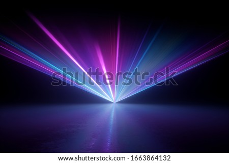 3d render, digital illustration. Bright projector shining on the dark empty stage, laser show, glowing pink blue hypnotic rays, abstract neon light background Foto stock ©