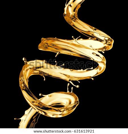 3d render, digital illustration, clear yellow spiral jet, lemonade, tea, oil splash, alcohol liquid wave, splashing loops, curvy line, isolated on black background
