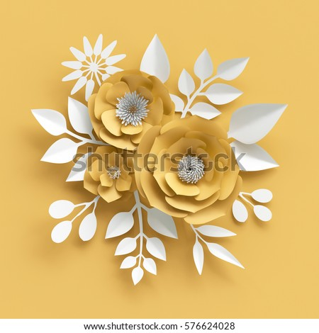 Vector images illustrations and cliparts 3d render digital 3d render digital illustration decorative yellow paper flowers background white leaves valentines mightylinksfo