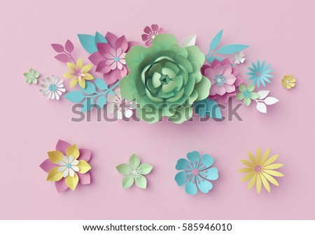 3d render, digital illustration, pastel paper flowers, pink floral background, Easter backdrop, Mother's day greeting card, design elements, artistic handmade, craft flower shapes