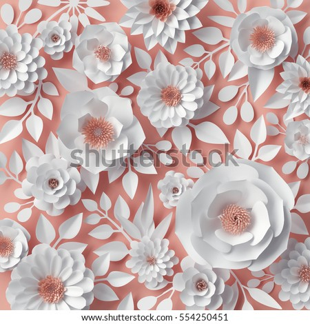 3d render, digital illustration, red pink paper flowers, bridal bouquet, wedding card, quilling, Valentine's day greeting card, garden, beautiful blooming wall