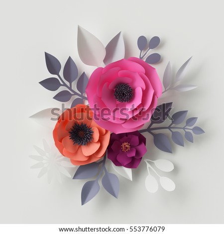 3d render digital illustration red pink paper flowers floral 3d render digital illustration red pink paper flowers floral background wedding card quilling valentines day greeting card template bridal bouquet mightylinksfo