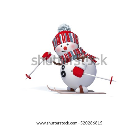 3d render, digital illustration, snowman character skiing, winter outdoor activity, sports,  Christmas toy, clip art isolated on white background