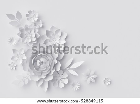 3d render, digital illustration, white paper flowers background, wedding decoration, bridal lace, greeting card template, blank floral wall decor