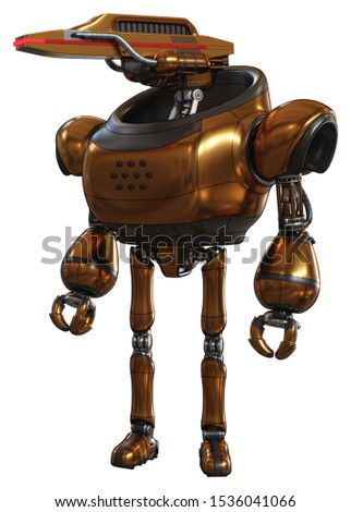 3d Render: Droid containing elements: dual retro camera head, laser gun head, heavy upper chest, ultralight foot exosuit. Material: Copper. Situation: Standing looking right restful pose.