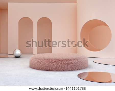 3d render. Elegant, minimal interior with fur podium.  Arch and circle in the background. Fur sofa for cosmetic or fashion product presentation. Shop display. Metallic sphere. Cylinder trendy mirror.