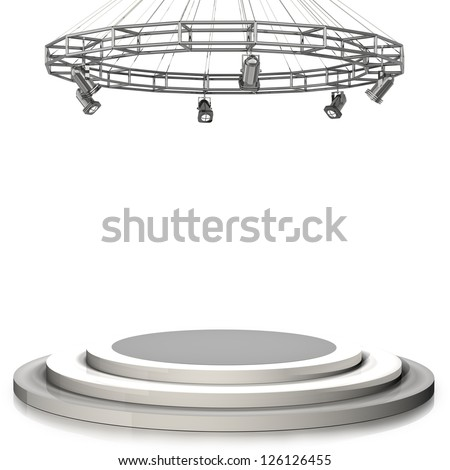 3d render. Empty stage isolated on white background High resolution