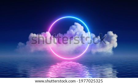 3d render, fantasy background with glowing neon ring and white cloud above the calm water. Abstract seascape