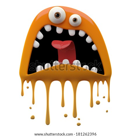 3D render fantasy monster color grunge character funny design element humour emoticon unique expression sticker isolated on the white background