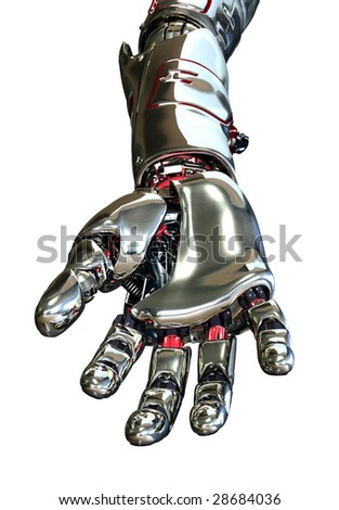 3D render featuring a robotic arm with hand, reaching forward, positioned as if it is holding something.
