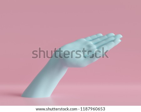 3d render, female hand isolated, jewelry shop display, minimal fashion background, mannequin body part, show, presentation, pink blue pastel colors