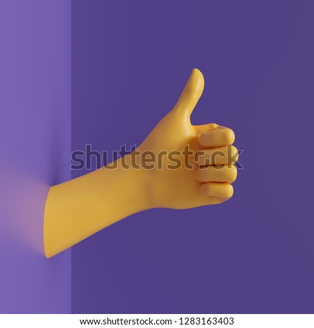 3d render, female hand isolated, thumb up, like gesture, jewelry shop display, minimal fashion background, mannequin body part, show, presentation, violet yellow bright colors