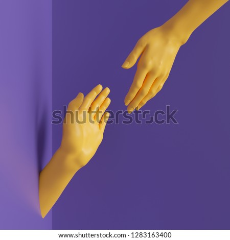 3d render, female hands isolated, minimal fashion background, helping hands, mannequin body parts, partnership concept, violet yellow bright colors