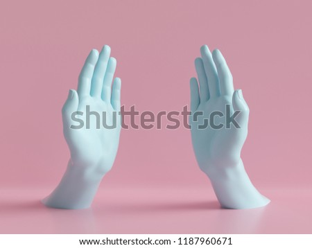 3d render, female hands isolated, open palms, jewelry shop display, minimal fashion background, mannequin body parts, helping hands, show, presentation, pink blue pastel colors