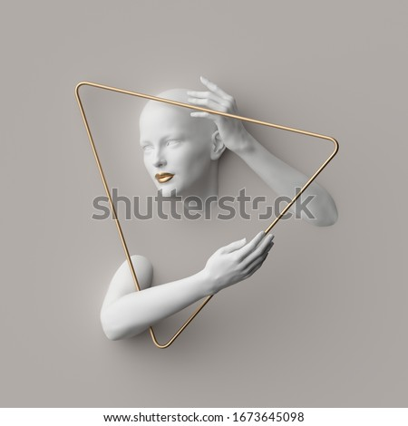 3d render, female mannequin body parts inside golden triangular frame, isolated on white background. Bold head, beautiful face, hands. Jewelry shop showcase. Fashion concept. Modern minimal portrait