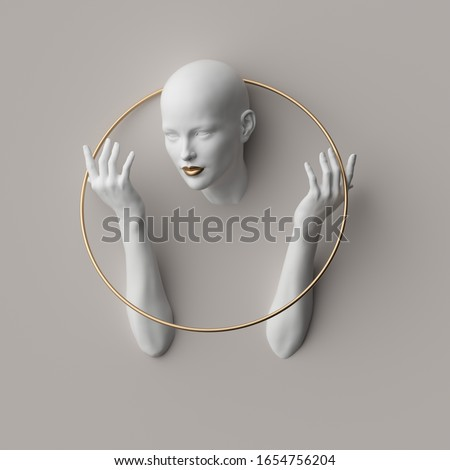 3d render, female mannequin body parts isolated on white background. Bold head, beautiful face, hands, golden ring. Blank product display for jewelry shop showcase. Modern minimal fashion concept Photo stock ©