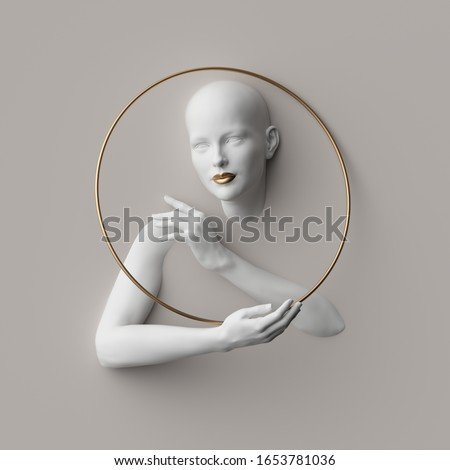 3d render, female portrait inside golden round frame, mannequin body parts isolated on white background. Bold head, beautiful face, hands. Product display for jewelry shop. Minimal fashion showcase Photo stock ©