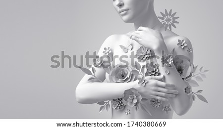 3d render, floral female bust, white mannequin covered with delicate paper flowers, woman silhouette isolated on white background. Breast cancer support. Wedding fashion. Modern botanical sculpture Photo stock ©