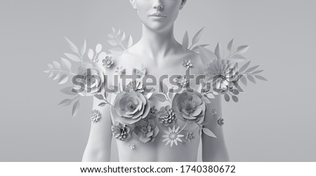 3d render, floral female bust, white mannequin decorated with paper flowers, woman silhouette isolated on white background. Breast cancer support. Wedding fashion. Modern botanical sculpture