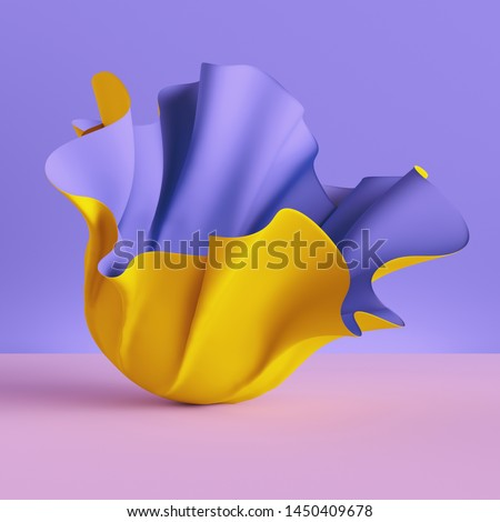 3d render, folded cloth, yellow drapery isolated on violet background, textile, fabric, curtain, abstract fashion wallpaper