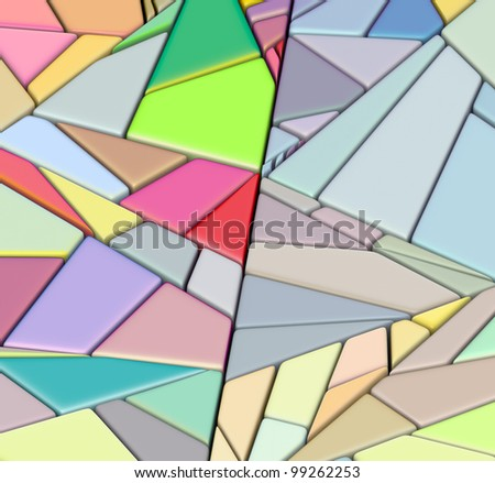 3d render fragmented mosaic shape in multiple bright colors