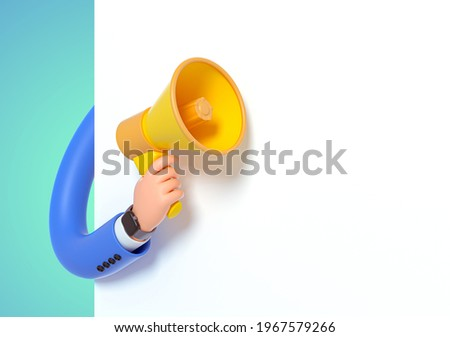 3d render, funny cartoon character hand in blue sleeve, hand with megaphone to blank banner with copy space, white background. Advertisement poster mockup, attention concept