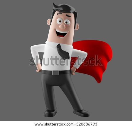 3D render funny cartoon illustrated picture of business man in suit, isolated, no background, super hero red cape, pulling an empty banner