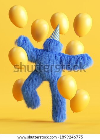 3d render, funny hairy blue monster dancing with air balloons, Yeti cartoon character celebrating birthday party. Festive clip art isolated on yellow background Photo stock ©